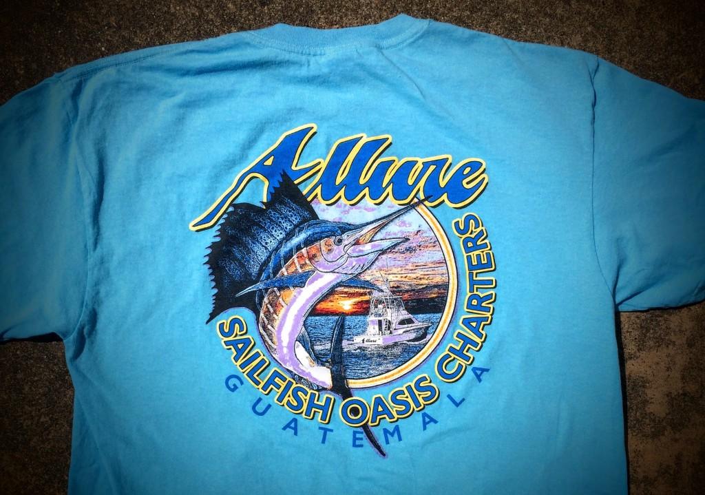 Sailfish oasis charters red tuna shirt club 39 s july shirt for Fishing sponsor shirts