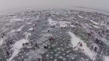 Drone Flies Over World's Largest Ice Fishing Tournament
