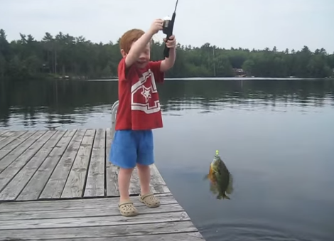 Little Boy Catches Fish in Less Than 2 Seconds